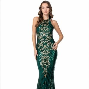 Emerald and Gold Ball Gown